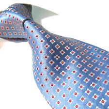 Extra Long Seven Fold Tie, 100% Silk Blue Plaids XL Jacquard Handmade Necktie