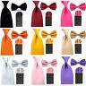Men Solid Satin Bowtie 8cm Necktie Ties Pre-Folded Puff Pocket Square Hanky Set