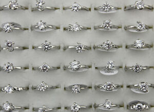 50pcs Wholesale Mixed Lots Clear Cubic Zirconia Rings Wedding Jewelry Silver P