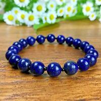 Bracelet Homme Femme Perles Naturelle Lapis Lazuli perles de verre Lithothérapie