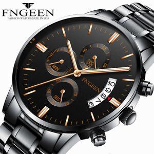 FNGEEN Men Military Quartz Watch Stainless Steel Analog Date Sport Wristwatch