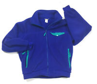 VTG LL Bean Purple-Blue Full Zip Fleece Jacket Teal Trim 1990s Retro Men's M