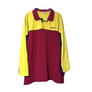 DHL Mens Red Yellow Blue Long Sleeve Employee Work Polo Shirt Size 3XL
