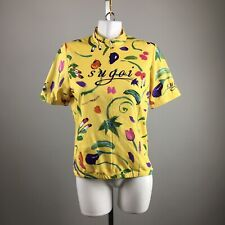 Sugoi Yellow Colorful Flower Short Sleeve Zip Cycling Top Size Large 100% Poly