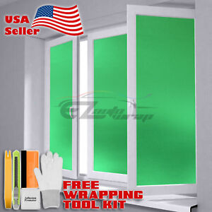 """48""""x108"""" Green Frosted Film Glass Home Bathroom Window Security Privacy Sticker"""