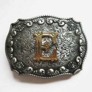 "Initial Letter ""E"" Cowboy Rodeo Western Metal Belt Buckle"