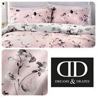 Dreams & Drapes GRACE Floral Bedding Duvet Cover Set Botanical Grey Reversible