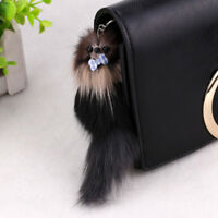 Fox Fur Monster Pom Squirrel Doll Keyring Keychain Bag Car Charm Pendant 20*5cm