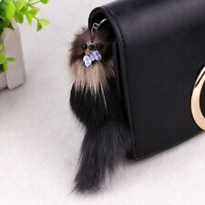 Fox Fur Monster Pom Squirrel Doll Keyring Keychain Bag Car Charm Pendant 20*5cm