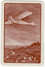 Playing Cards 1 Swap Card Old Vintage Airplane Flying Over Scenic River Village