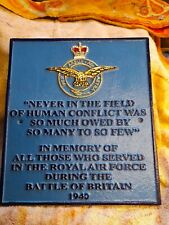 "Winston Churchill ,RAF, Tribute to ""The Few "" good quality cast iron wall plaque"