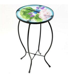 CEDAR HOME Side Table Outdoor Garden Patio Metal Accent Desk with Round.