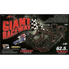 New Afx Giant Raceway 62.5' Ho Slot Car Track Set w/Tri-Power Pack Free Shipping