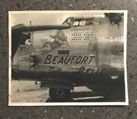 """Vintage WWII  B-24 Bomber Airplane Nude """" Beaufort Belle """" Nose Art Photo"""