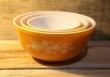 Lot Of 3 Vintage Pyrex Green Butterfly Gold Pattern Nesting Mixing Bowls Set