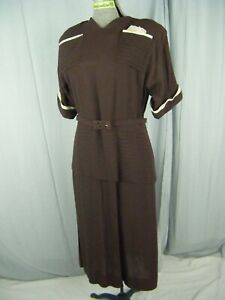 Vtg 40s Brown Crepe Pleated Buttons Back Dress w/Cream Lace Napkin-Bust 39/M