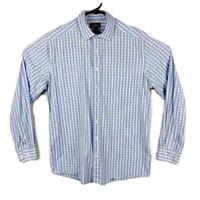 Rodd & Gunn Men's Light Blue/White Plaid Check Long Sleeve Shirt - Size M