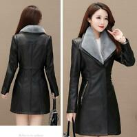 Women Trench Coat Faux Leather Fur Lined Thicken Fleece Jacket Outwear Fur Parka