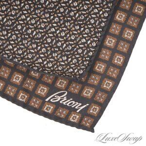 NWOT Brioni Made in Italy 100% Silk Black Reversible Brown Leaf Pocket Square #6