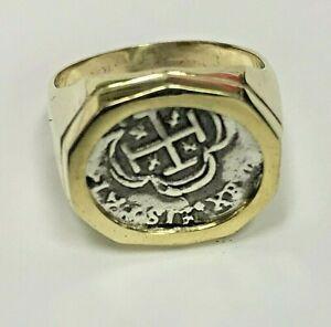 ATOCHA Coin Ring Mens 14k Gold Sunken Treasure Shipwreck Coin Jewelry