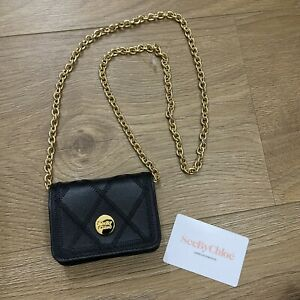 NEW! £202 SEE BY CHLOE Black Hold 100% Calf Leather Quilted Logo Micro Mini Bag