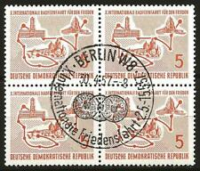 Germany (East) DDR GDR 1957 FD CTO - 10th Int'l Peace Cycle Race 4-Block Mi-568