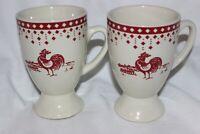 2 French Cockerel Mazagran Mug Cup tall tasses  à café