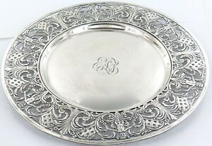 .c1910 STUNNING LORING ANDREWS & Co STERLING SILVER DECORATIVE LARGE ROUND TRAY.