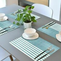 Set of 4 PVC Placemats Stripe Kitchen Dining Table Non-slip Washable Blue Woven