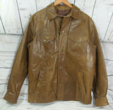 Vintage Old Navy Mens Tan Genuine Leather  western style shirt   Jacket Size S