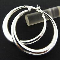 Hoop Earrings Real 925 Sterling Silver S/F Ladies Classic Drop Dangle Design