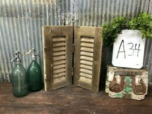 Small Antique Farmhouse Shutter, Natural Wood Shutter Architectural Salvage A34