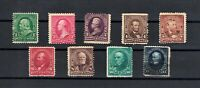 NINE BEAUTIFUL US SCOTT  (1894-1898) STAMPS: 1, 2, 3, 4, 5, 6, 8, 10, & 15 Cent
