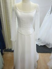White Satin Wedding Gown Michelangelo #5154 Size 10 Long Sleeves Size 10