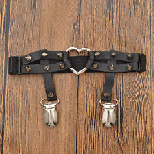 Women Harajuku Gothic Elastic Heart PU Leather Garter Belt Rivet Thigh Leg Ring