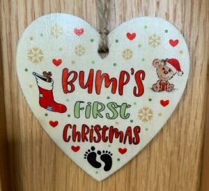 Bumps First Christmas Heart Decoration Wooden Christmas Tree Baubles Mum To Be