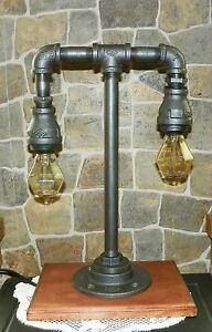 Handcrafted Steampunk style Industrial Pipe Table lamp with edison gem bulbs