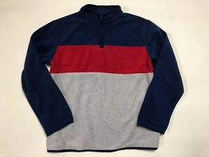NWT Crazy 8 by Navy Red Fleece Pullover 1/2 Zip Sweatshirt size L Large 10-12