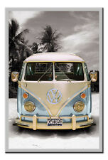 VW Camper Van Poster Californian Silver Framed Ready To Hang Frame Free P&P