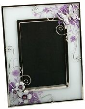 Butterfly and Crystal Flowers Purple - Silver Design Glass Photo Frame 561F46