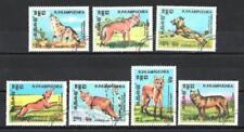 Animaux Chiens sauvages Kampuchéa (98) série complète 7 timbres oblitérés
