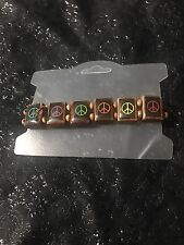 Brown Wooden Peace Sign Stretch Bracelet