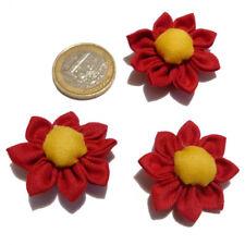 lot 3 fleurs appliques coton japonaises KANZASHI pointues 3,5 cm rouge et jaune