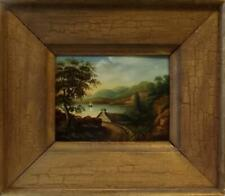 Antique SCOTTISH HIGHLANDS Primitive Landscape Oil Painting TRANQUIL LOCH c1880