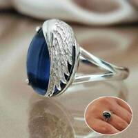 Fashion 925 Silver Oval Cut Blue Sapphire Women Wedding Ring Jewelry Size 6-10