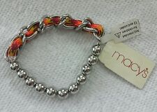 NWT MACY'S BRACELET MULTI BUNGEE CHAIN SILVER ORIGINAL PRICE $18
