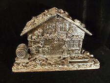 GORGEOUS EBONY CARVED SWISS CHALET JEWELRY TRINKET BOX - CIRCA 1835