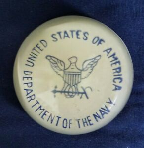 Vintage UNITED STATES OF AMERICA DEPARTMENT OF THE NAVY Glass Paperweight
