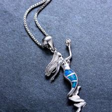 Blue Fire Opal Fairytale Mermaid Pendant Necklace Womens 925 Silver Jewelry Gift
