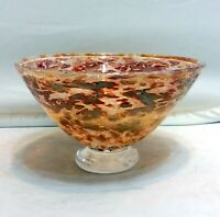 Vintage English Glass Bowl Hand Made Interesting Surface